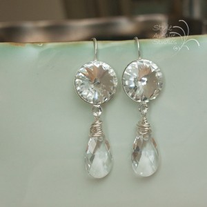 crystal bridal earrings, custom