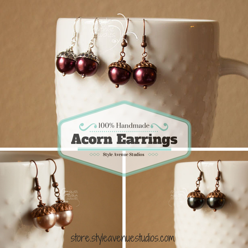 Acorn Earrings, Style Avenue Studios, handmade jewelry