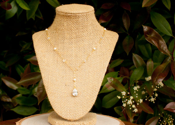 Gold and Crystal Bridal Necklace