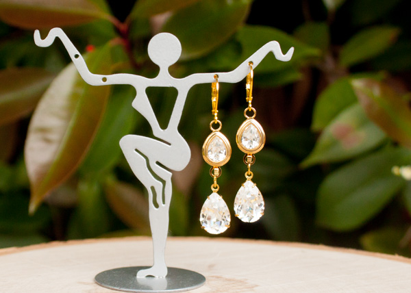 Crystal Bridal Earrings Gold