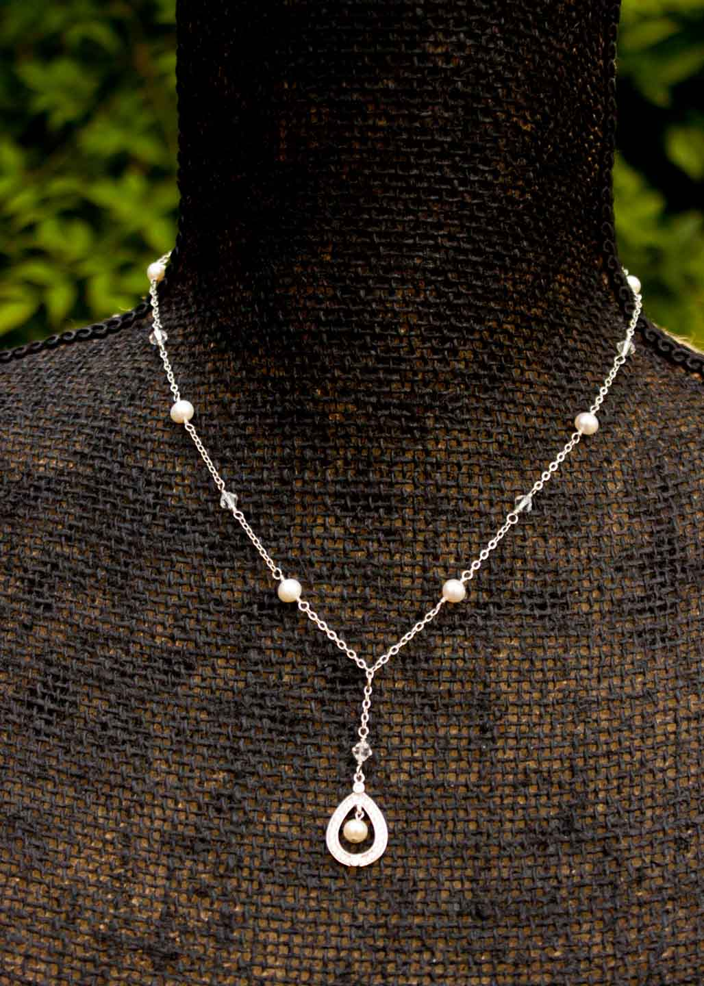 CZ Pearl Bridal Necklace