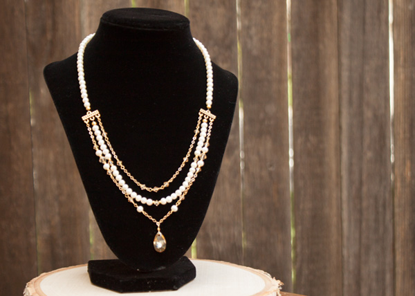 Pearl Gold Crystal Bridal Necklace