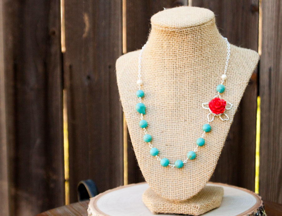 Turquoise Red Rose Necklace