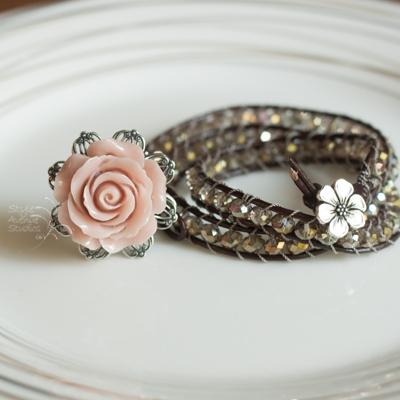 rose ring and wrap bracelet