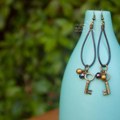 leather dangle earrings, rustic earrings, unique earrings