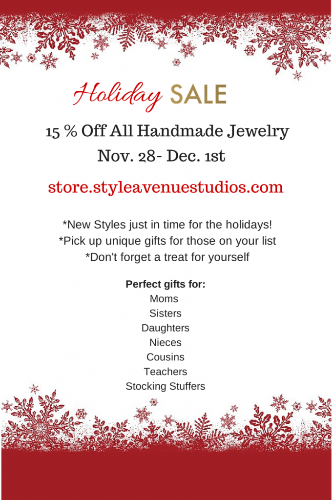 style avenue studios, handmade jewelry, holiday sale, christmas gifts