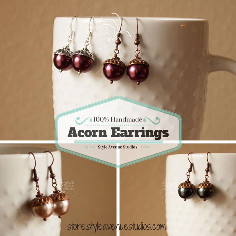 Acorn Earrings, Style Avenue Studios, handmade jewelry