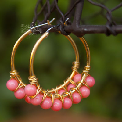 Coral and Gold hoops