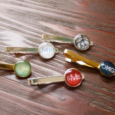 monogrammed tie clips groomsmen
