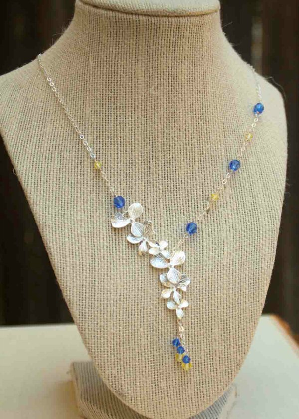 Blue and Yellow Bridesmaid necklace