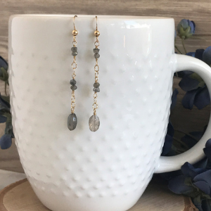 Labadorite and gold earrings